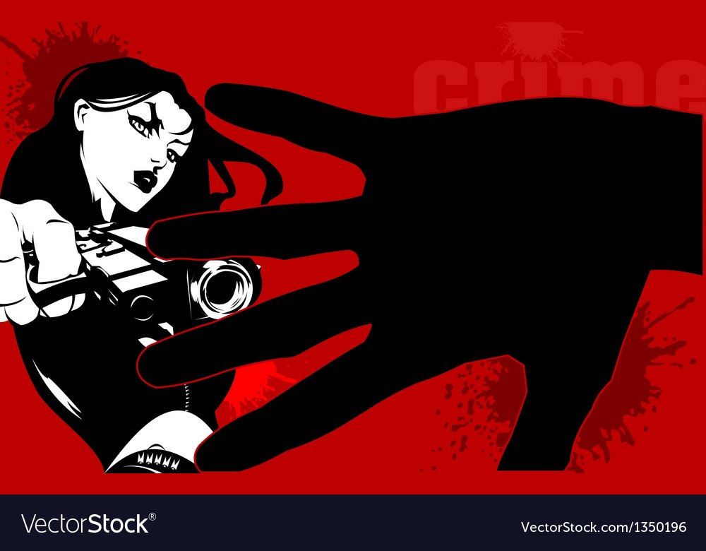 Woman with gun vector | Price: 1 Credit (USD $1)