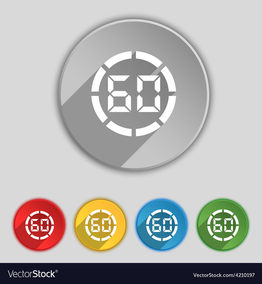 60 second stopwatch icon sign symbol on five flat vector | Price: 1 Credit (USD $1)