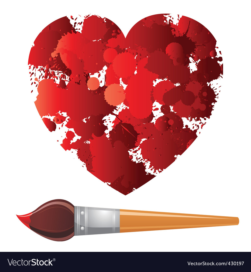 Heart and paintbrush vector | Price: 1 Credit (USD $1)
