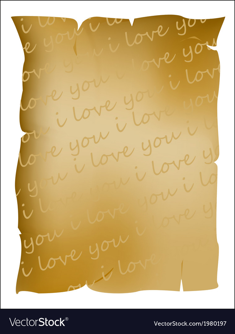 I love you text on parchment vector | Price: 1 Credit (USD $1)