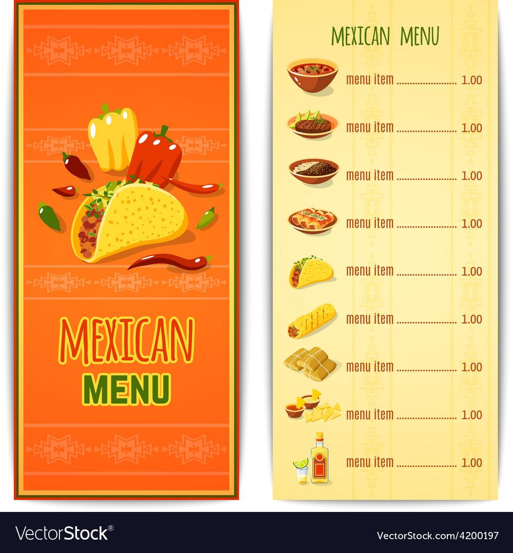 Mexican food menu vector | Price: 1 Credit (USD $1)