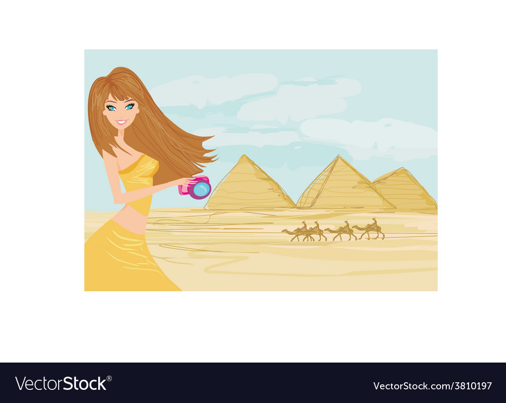 Nature photographer taking pictures in giza built vector | Price: 1 Credit (USD $1)