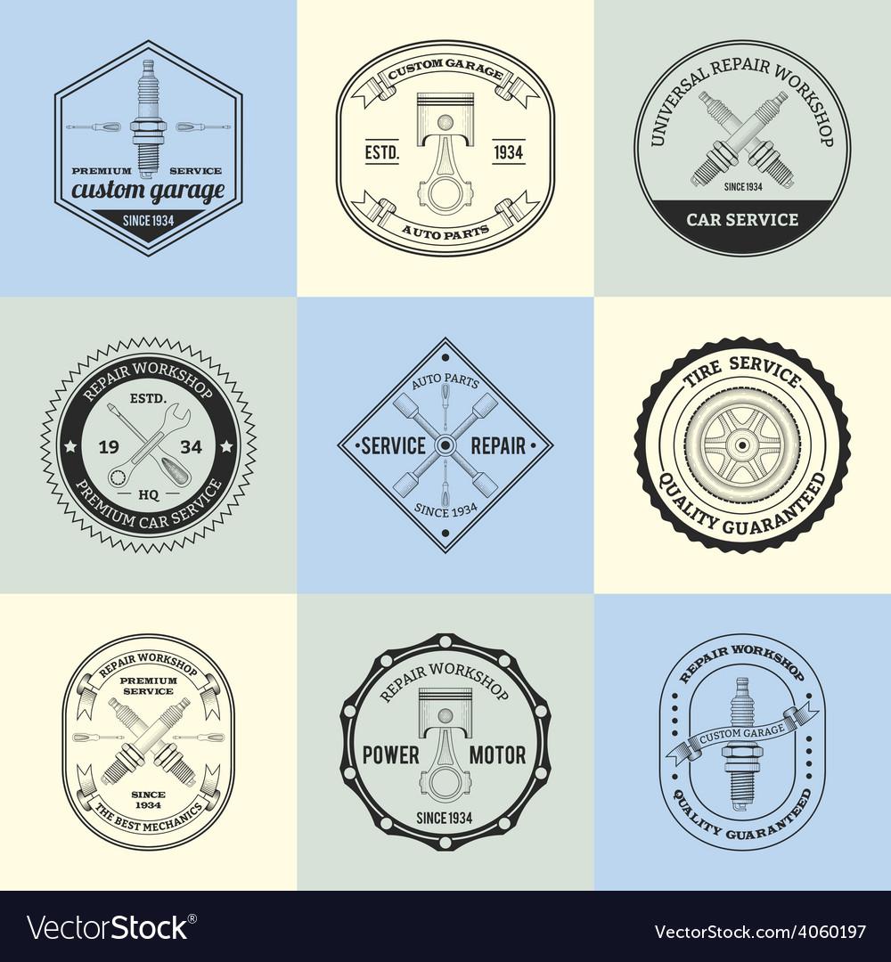 Repair workshop emblems vector   Price: 1 Credit (USD $1)