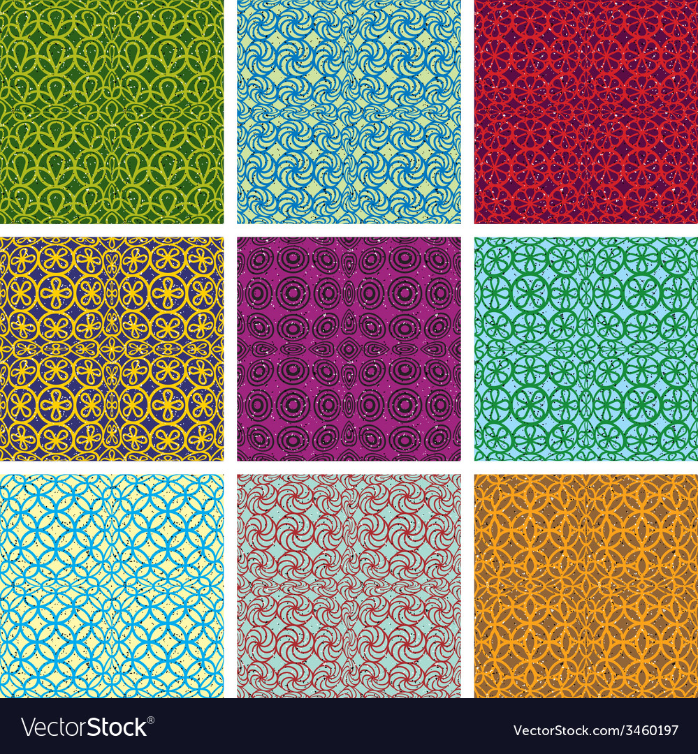 Retro style tiles seamless patterns set vector | Price: 1 Credit (USD $1)
