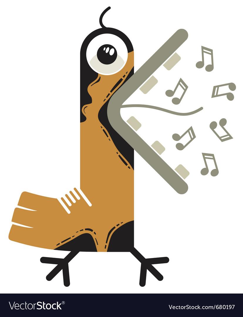 Singing cartoon bird vector   Price: 3 Credit (USD $3)