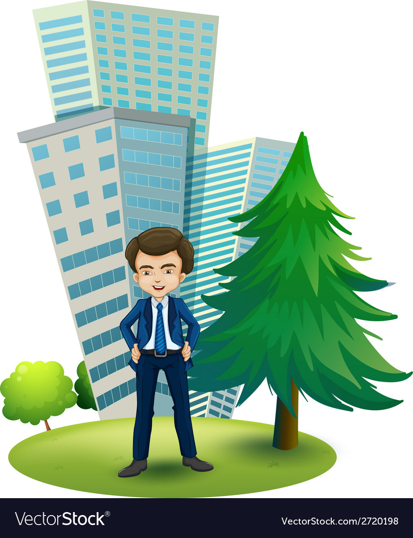 A businessman outside the office vector | Price: 1 Credit (USD $1)