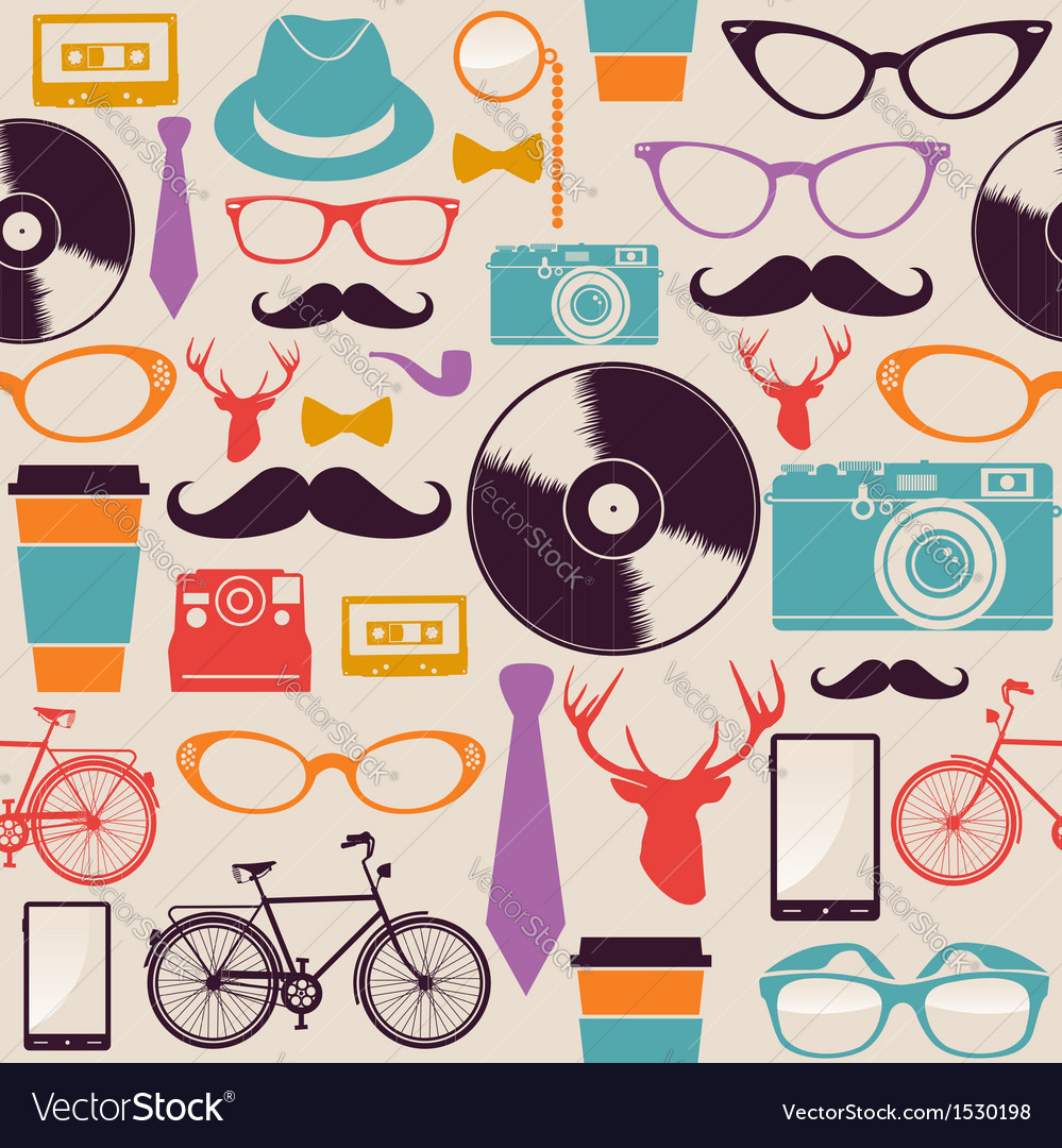 Colorful vintage hipsters icons vector | Price: 1 Credit (USD $1)