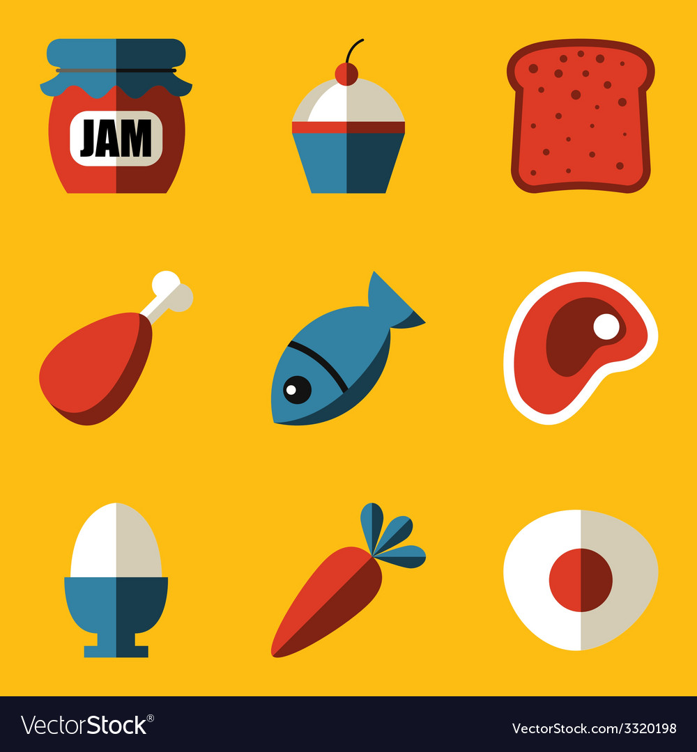 Flat icon set food vector | Price: 1 Credit (USD $1)