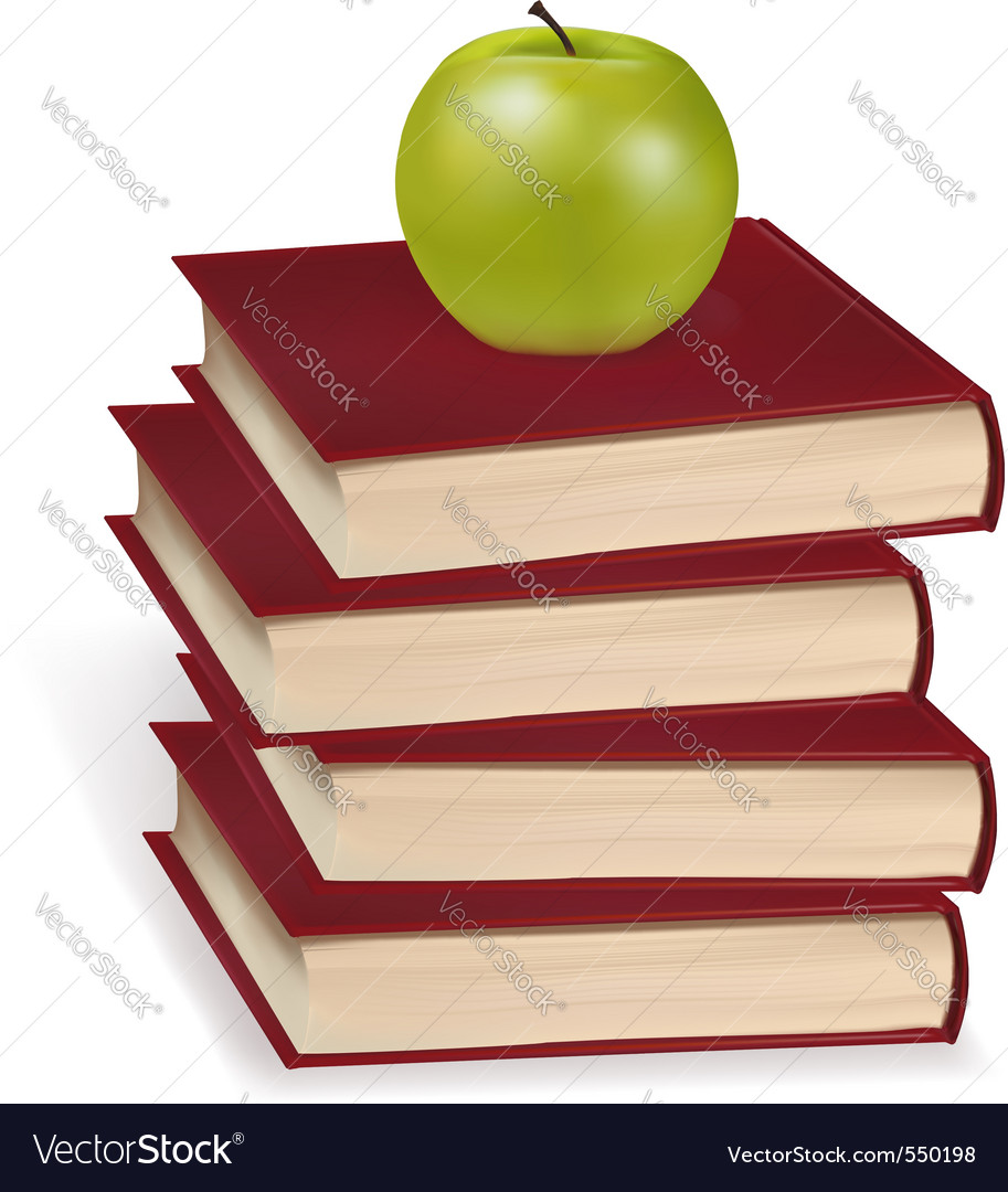 Green apple laying on the book vector | Price: 3 Credit (USD $3)