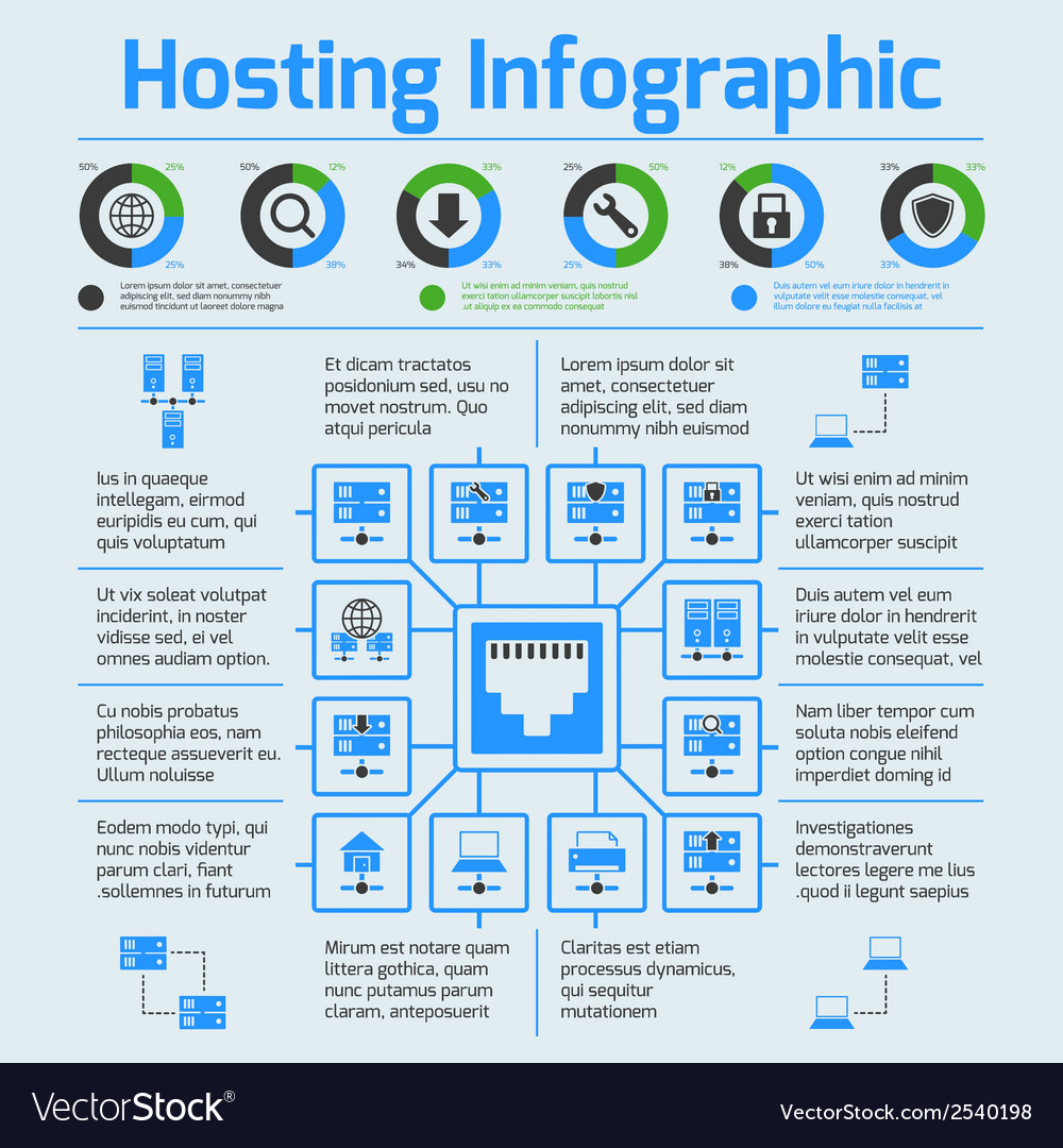 Hosting infographic set vector | Price: 1 Credit (USD $1)