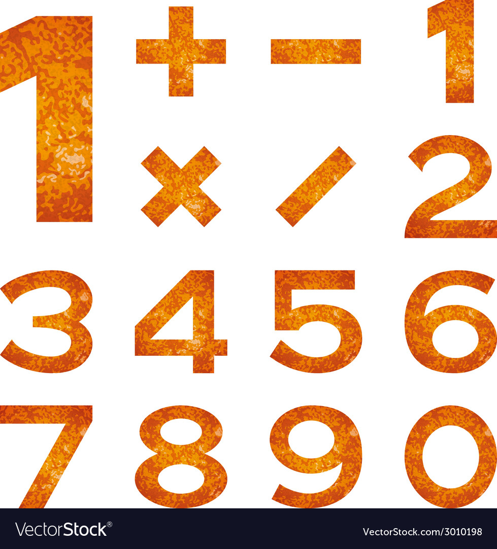 Numbers set orange lava vector | Price: 1 Credit (USD $1)