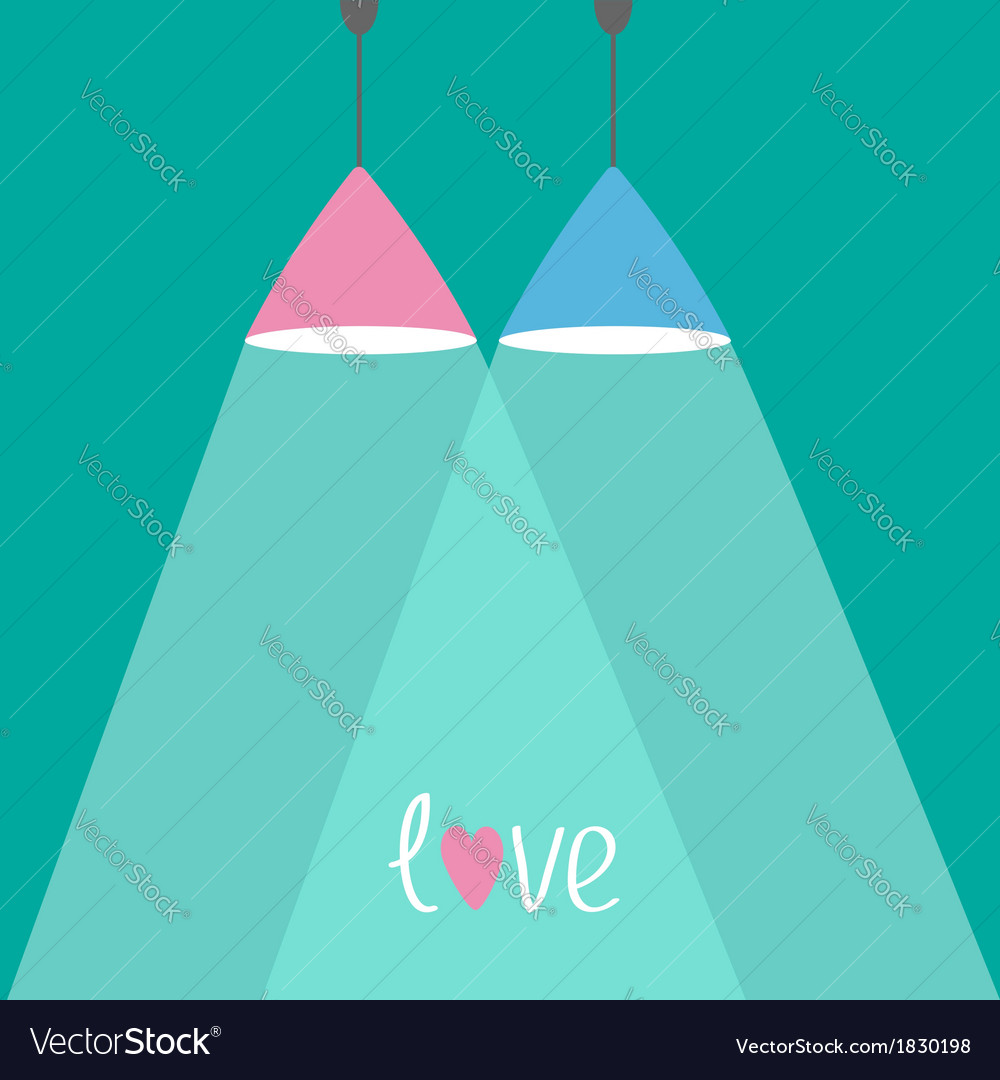 Pink and blue lamps with rays of light flat design vector | Price: 1 Credit (USD $1)