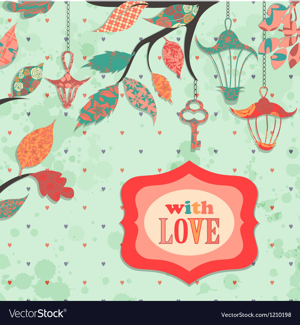 Scrapbooking background with patch branch and vector | Price: 1 Credit (USD $1)