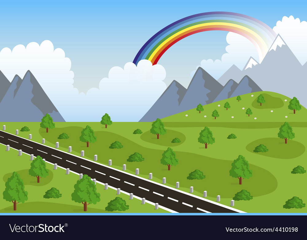 Spring or summer road in mountain vector | Price: 3 Credit (USD $3)