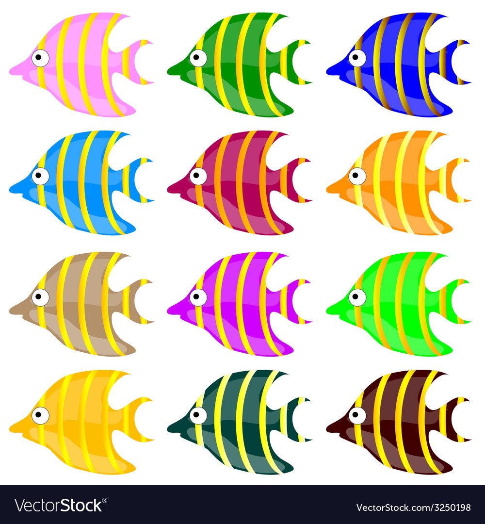 Sweet and funny fish color vector | Price: 1 Credit (USD $1)