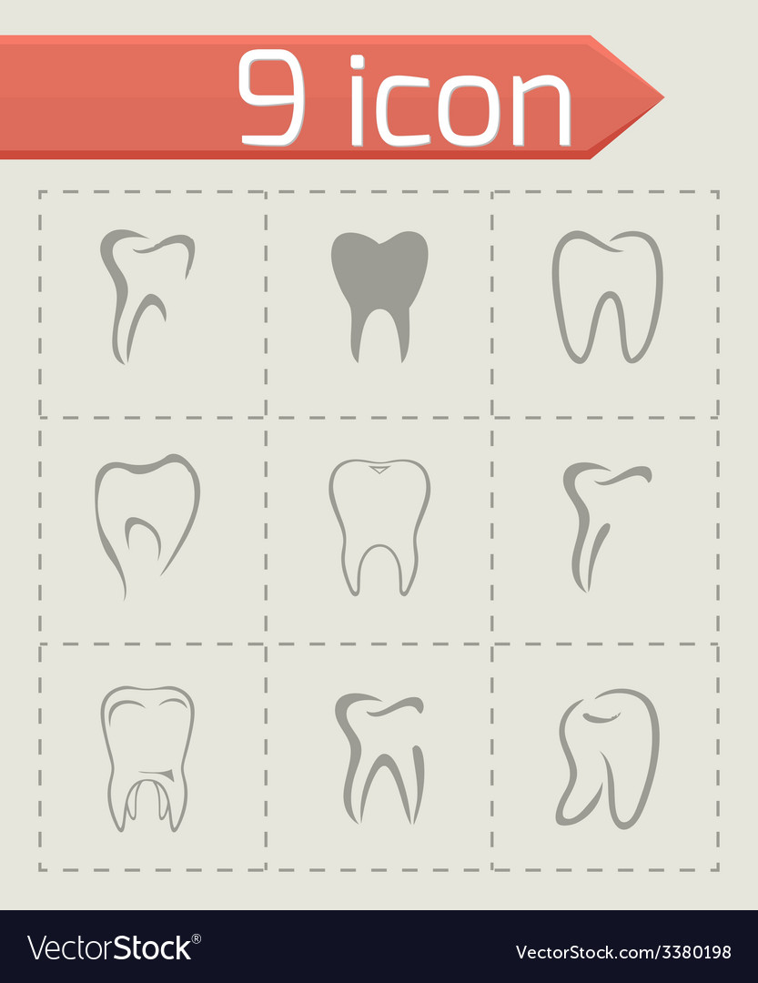 Teeth icon set vector | Price: 1 Credit (USD $1)