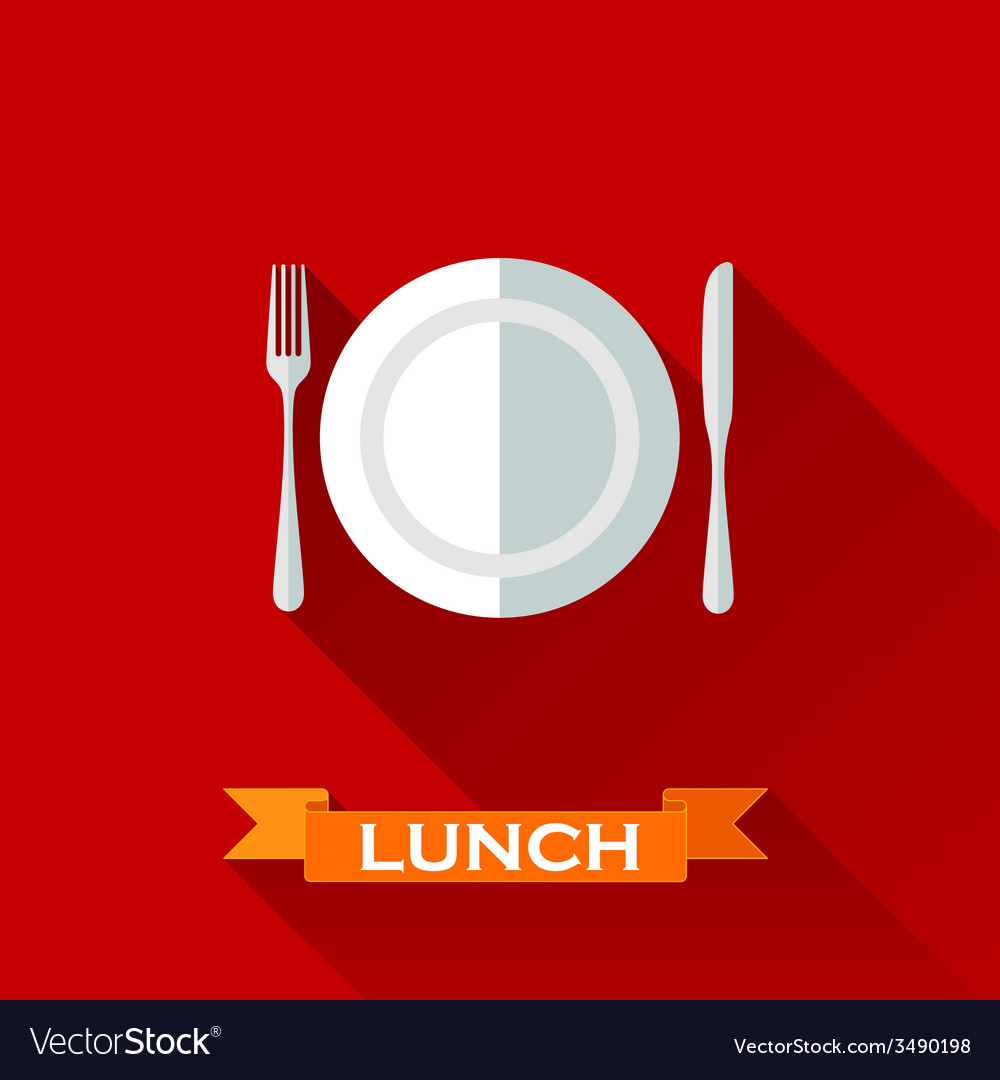 With a plate and cutlery in flat design style with vector | Price: 1 Credit (USD $1)