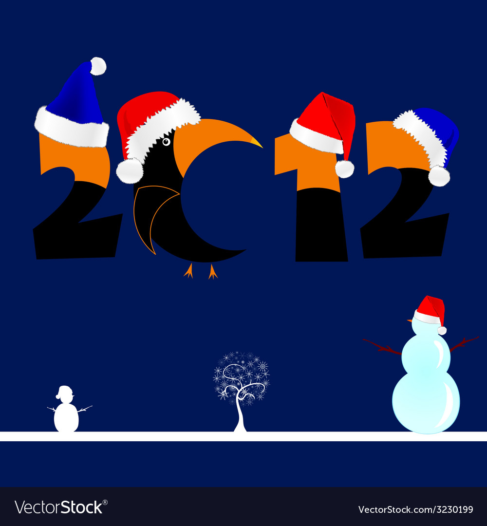2012 with tree and snowman vector | Price: 1 Credit (USD $1)