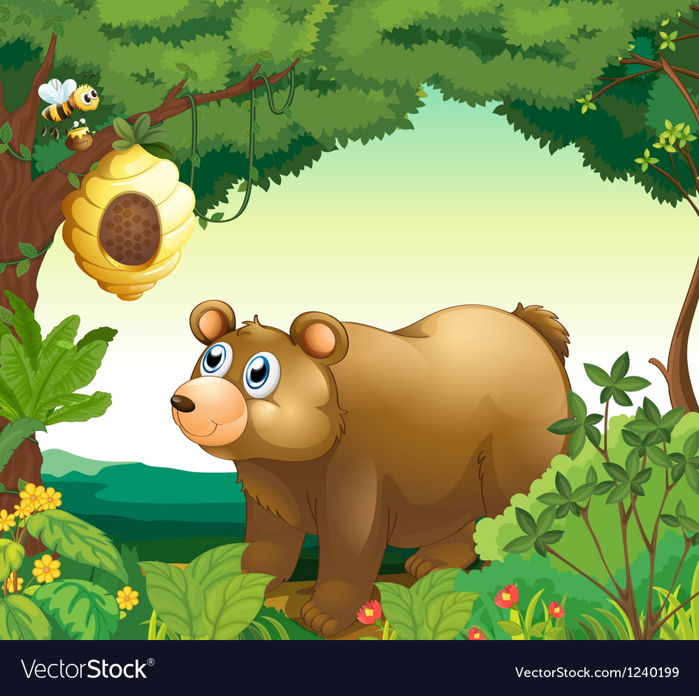 A big brown bear staring at the beehive vector | Price: 1 Credit (USD $1)