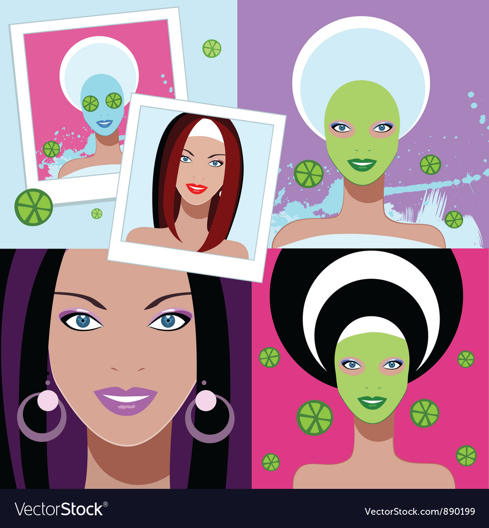 Beautiful woman spa facial mask vector | Price: 3 Credit (USD $3)