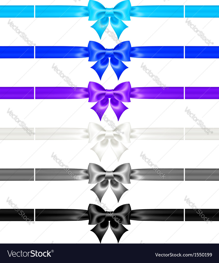 Bows with ribbons of cool colors vector | Price: 1 Credit (USD $1)