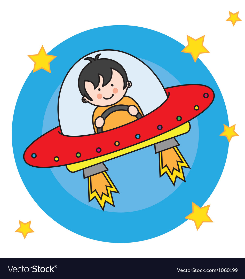 Child flying a spacecraft vector | Price: 1 Credit (USD $1)