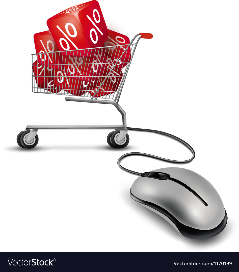 Computer mouse and a shopping cart with cube in it vector | Price: 1 Credit (USD $1)
