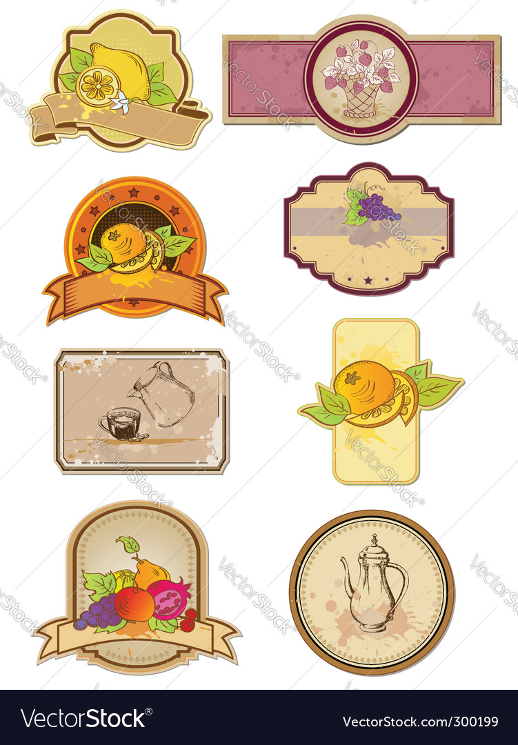 Food and drinks labels vector | Price: 1 Credit (USD $1)