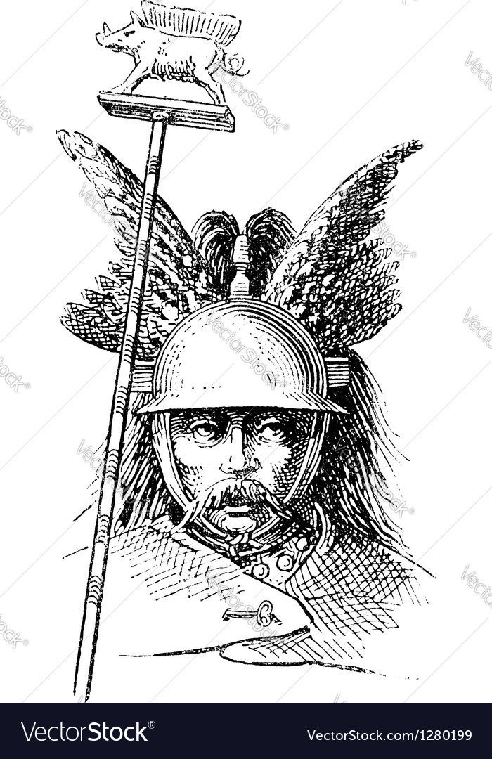 Norman helmet vintage engraving vector | Price: 1 Credit (USD $1)