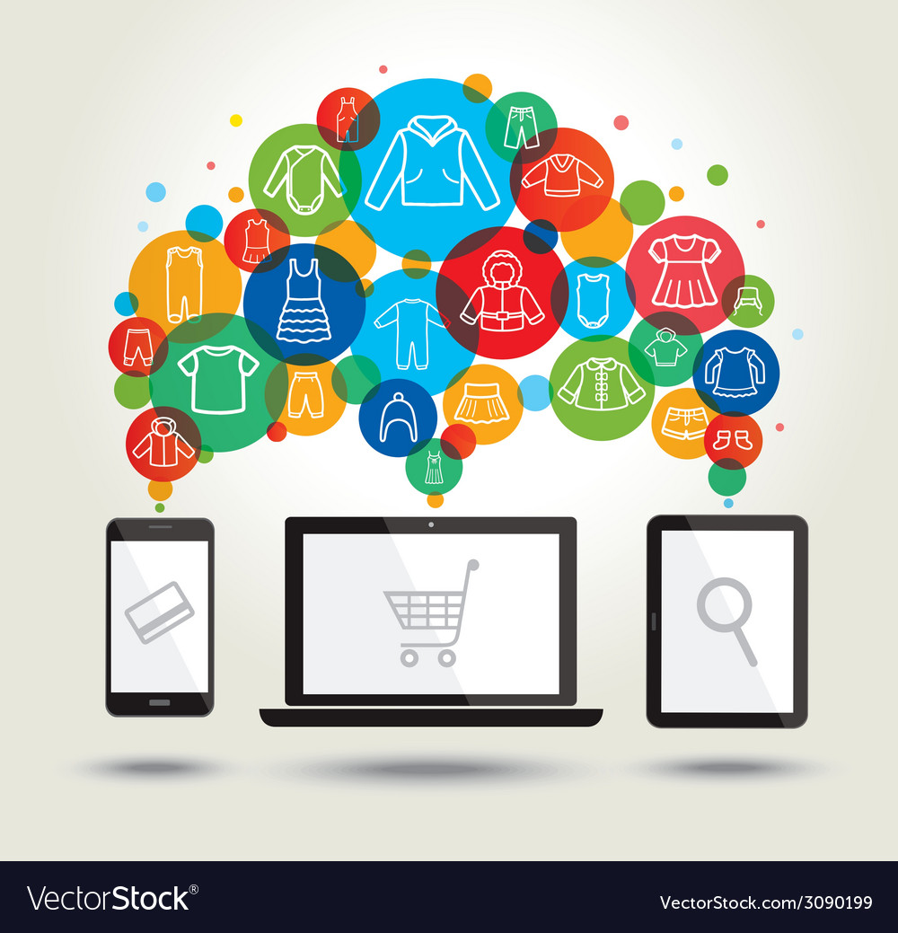 Online shopping modern technology vector | Price: 1 Credit (USD $1)