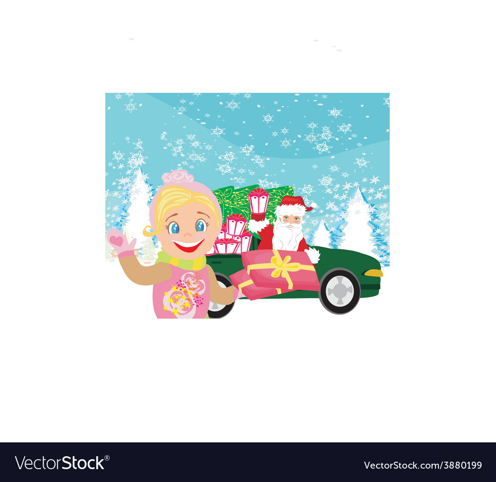 Santa claus driving car with christmas gifts vector | Price: 1 Credit (USD $1)