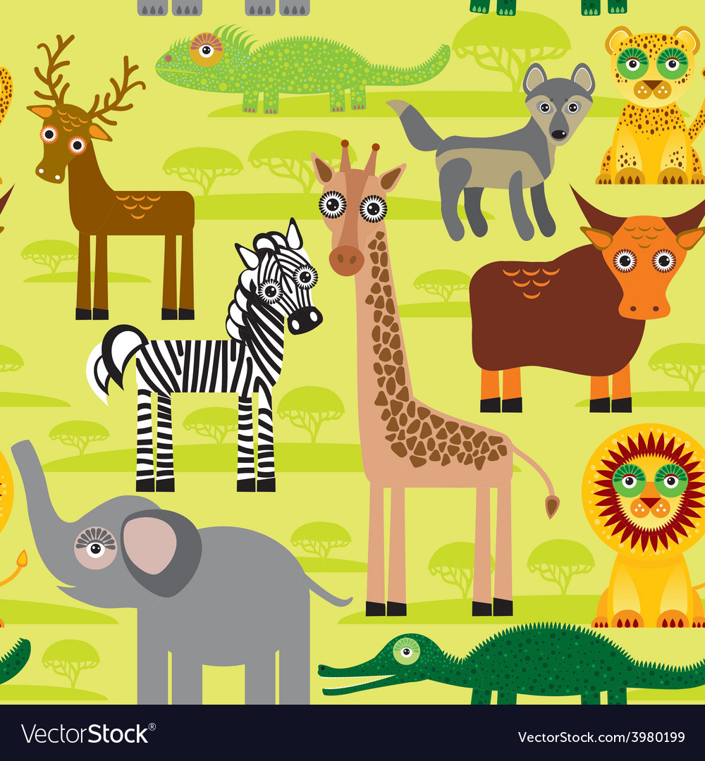 Seamless pattern background with african animals vector | Price: 1 Credit (USD $1)