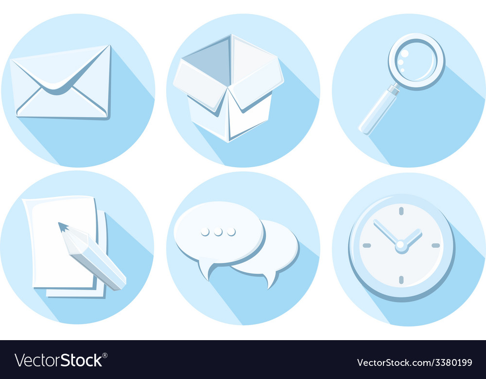 Set of business icons letter box magnifying glass vector | Price: 1 Credit (USD $1)