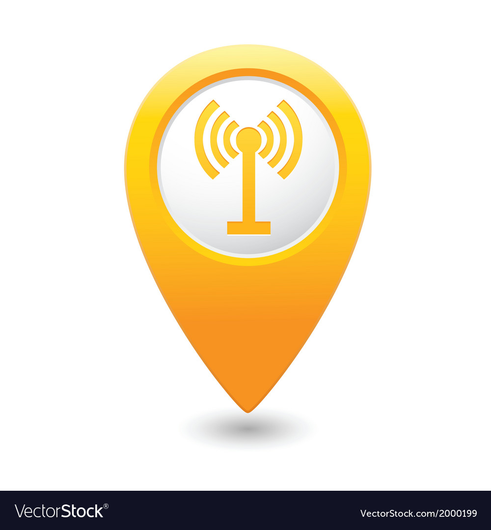 Wi fi icon yellow map pointer vector | Price: 1 Credit (USD $1)
