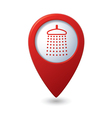 Map pointer with shower icon vector