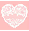 Lacy heart on pink background with empty lace net vector