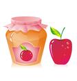 Jar of apple jam vector