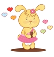Cute bunny with chocolate and hearts vector