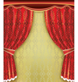 Luxury background red curtain with golden pattern vector
