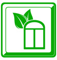 Green icon with window and leaf vector