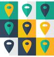 Flat pin icons set vector