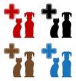 Set colorful veterinary care icon vector