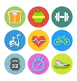 Set of flat fitness icons vector