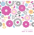 Vibrant floral scaterred horizontal frame seamless vector