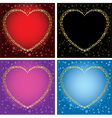 Gold decorative cards with hearts - set of frames vector