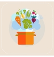 Healthy pan and vegetables icon vector