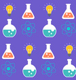 Seamless pattern science symbols over purple vector