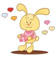 Cute bunny with hearts vector