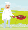 Smiling chef grills meat vector