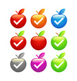 Icons of glossy apples vector